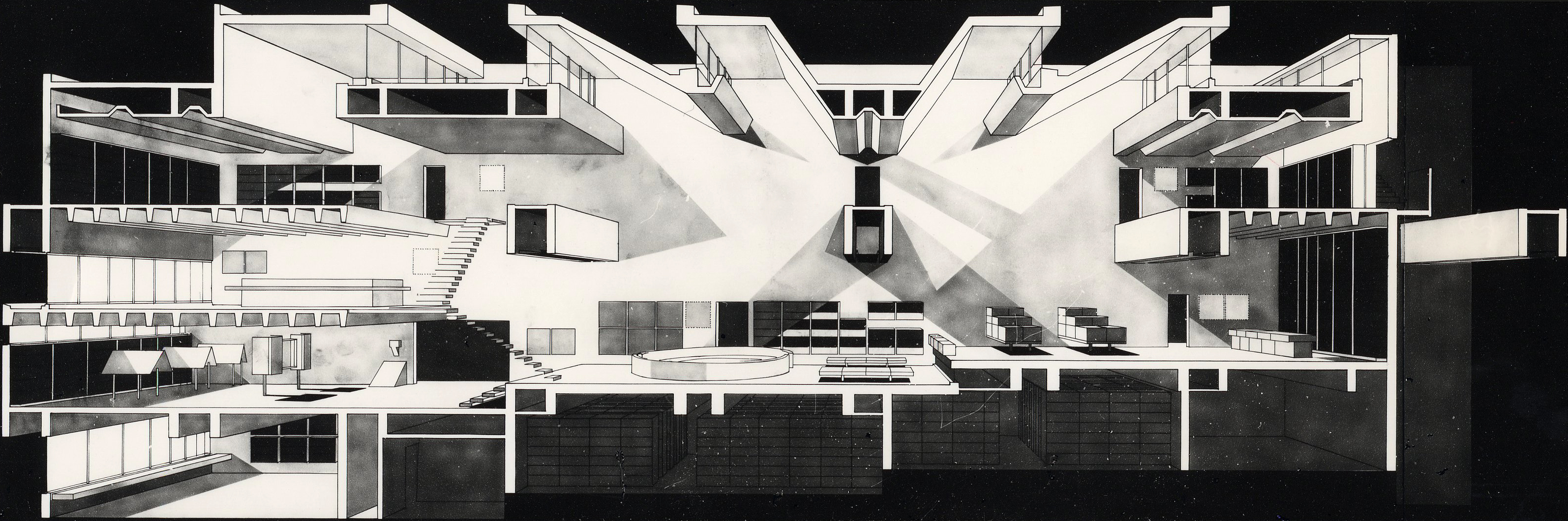 Section perspective, Ōita Prefectural Library, photo courtesy of Arata Isozaki and Associates