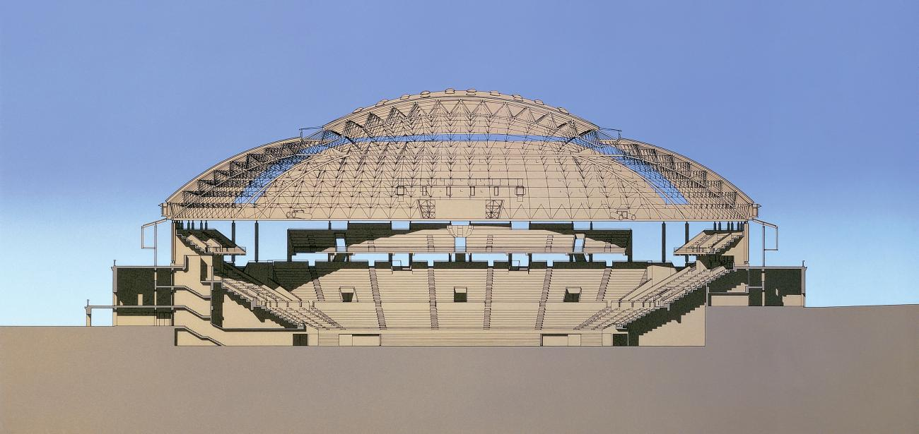 Palau Sant Jordi, rendering courtesy of Arata Isozaki and Associates